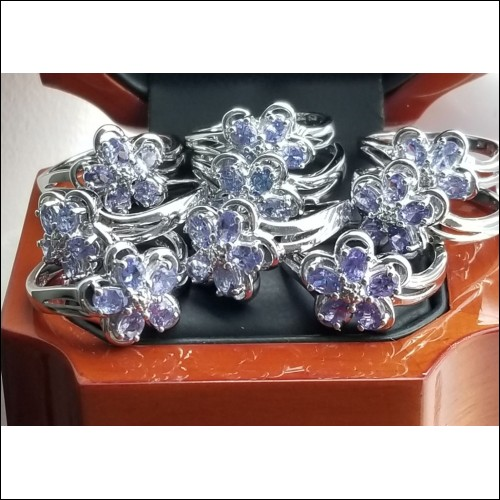 (9) Approx 1/2Ct Tanzanite Cluster Rings Sterling Silver Lot