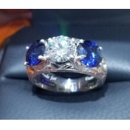 Diamond & Sapphire Ring Hand Engraved Platinum By Daniel Arthur Jelladian $11,000