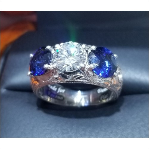 Sold Diamond & Sapphire Ring Hand Engraved Platinum By Daniel Arthur Jelladian