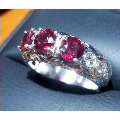 Sold Gia Certified Ruby and Diamond Band Platinum By Daniel Arthur Jelladian