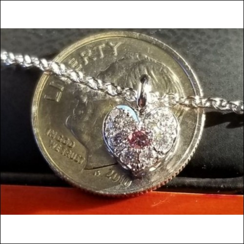 Sold Gia Fancy Intense Purplish Pink & White Diamond Heart Pendant by Daniel Arthur Jelladian