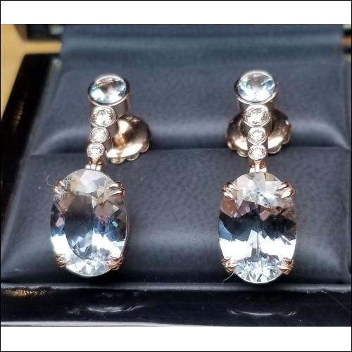 Sold 10.20Ct Aquamarine & Diamond Drop Earrings 18k Rose Gold by Jelladian