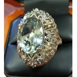 $75 Pre Black Friday Deal 12.04Ct Green Amethyst & Diamond Ring Sterling & 14k Gold