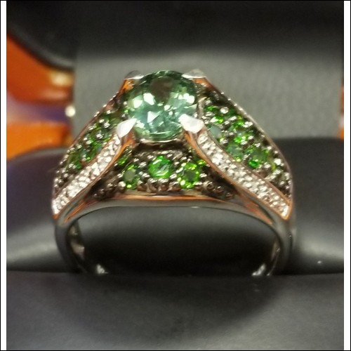 $50 Green Apatite and Diamond Ring Sterling Pre Black Friday Deals