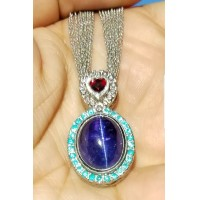 "Sold ""Love & Light"" 19.38Ct Gia Tanzanite Cat's Eye, No Heat Ruby, Brazil Paraiba Tourmaline & Fancy Intense Orangy Pink Diamond Pendant By Jelladian"