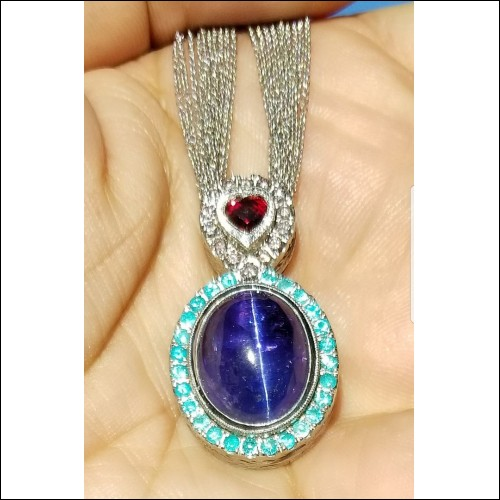 "Sold ""Love & Light"" 19.38Ct Gia Tanzanite Cat's Eye, No Heat Ruby, Brazil Paraiba Tourmaline & Fancy Intense Orangy Pink Diamond Pendant By Daniel Arthur Jelladian"