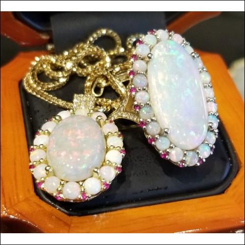 Made to order Opal, Ruby & Diamond Ring & Pendant Set 18k Gold by Daniel Arthur Jelladian