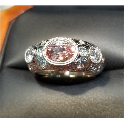 Sold Gia Padparadscha Sapphire & Diamond Ring 18kwg by Jelladian
