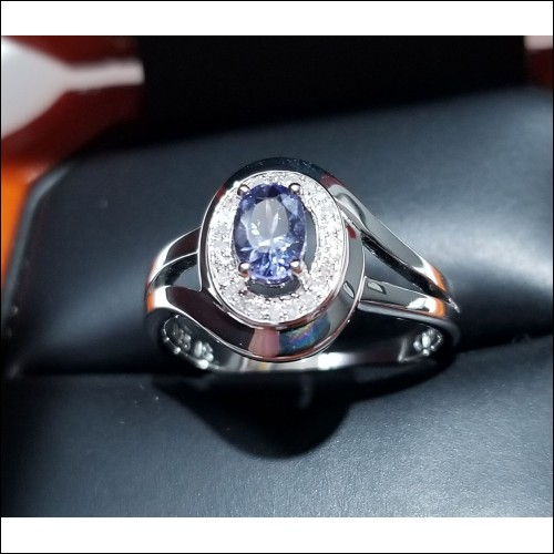 Priced to Move $50 Delivered Tanzanite and Diamond Ring Silver