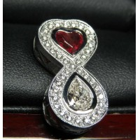 Sold Gia Red Beryl & Diamond Love Infinity Pendant Platinum by Jelladian