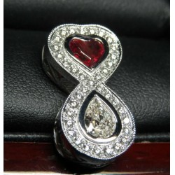 Sold Gia Red Beryl & Diamond Love Infinity Pendant Platinum By Daniel Arthur Jelladian