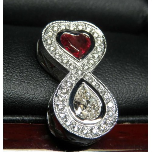 Sold Gia Red Beryl & Diamond Love Infinity Pendant Platinum