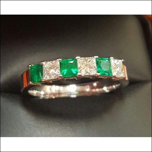 Sold 1.50CT Princess Cut Diamond & Emerald Band 18k White Gold By Daniel Arthur Jelladian $2,500-$3,000