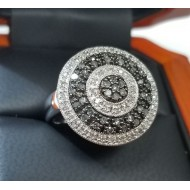 $149 Igi Certified Multi Row Circular Design Black & White Diamond Ring Cert costs $49 alone