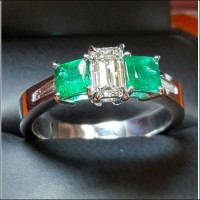 Sold Emerald Cut Diamond & Princess Cut Emerald Wedding Ring 18kwg by Daniel Arthur Jelladian