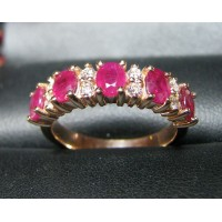 1.62CT Red Ruby & Diamond Anniversary Band 18k Rose Gold- Happy Valentine's Day!