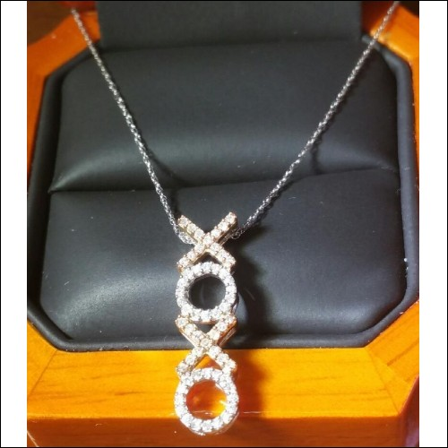 HUGS & KISSES DIAMOND PENDANT & CHAIN 14K