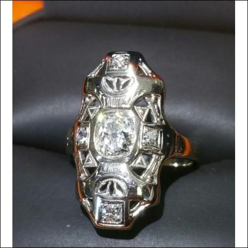 ESTATE OLD CUT CUSHION CUT DIAMOND RING 14KWG