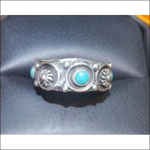 ESTATE TURQUOISE ETERNITY BAND STERLING SILVER SIZE 6