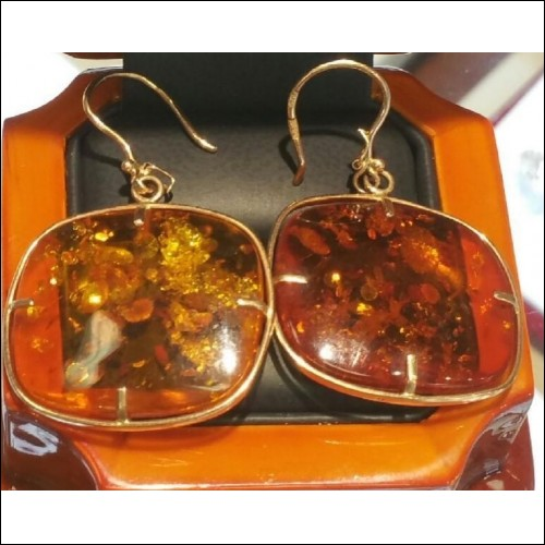 ESTATE 30CT ORANGE SODA AMBER EARRINGS 14K MARKED RUSSIAN  GOLD