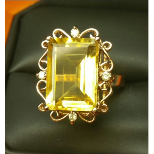 $3,500 6.51CT CITRINE & DIAMOND RING 14K $1NR