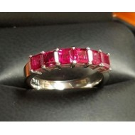 Sold 1.97Ct Red Carre Ruby Anniversary Band Platinum By Daniel Arthur Jelladian $1,500-$2,000