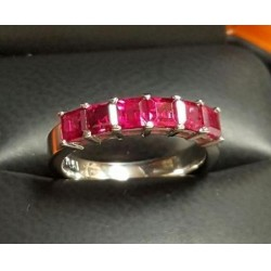 Sold 1.97Ct Red Carre Ruby Anniversary Band Platinum By Daniel Arthur Jelladian $1,500