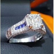 Sold 2.36Ct Emerald Cut D Internally Flawless Gia 1.37Ct Diamond & Sapphire Ring Platinum