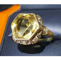 Estate 7.00Ct Hexagon Citrine in Vintage Engraved 14k Gold Setting