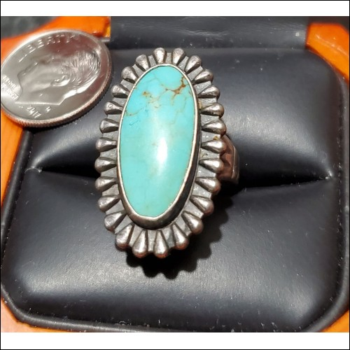 Estate Turquoise Ring Hallmarked and marked Sterling $1Nr