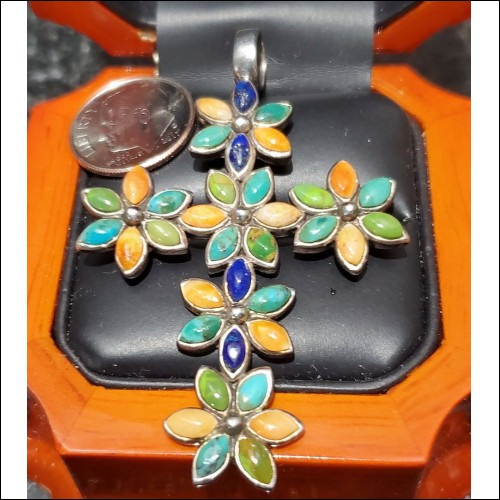 Estate Marquise Cabochon Color Gem Cross Pendant Hallmarked & Marked Sterling $1Nr