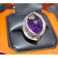 $500 Estate 7.00Ct Purple Amethyst Cabochon Oval Ring Sterling marked Israel $1Nr