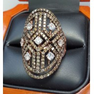 $2,550 2.10Ct White & Fancy Brown Diamond Ring 14k Rose Gold