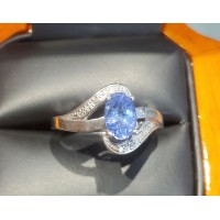 $300 .65Ctw Tanzanite Oval and Diamond Ring Sterling Silver December Birthstone $1Nr