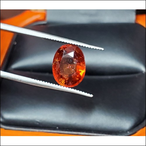 2.94Ct Reddish Orange Garnet Oval January Birthstone $1Nr