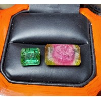 2.69Ct Green Emerald Cut Tourmaline & 8.97Ct Parti Multi Color Tourmaline Lot $1Nr