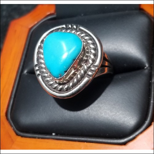$300 Estate Turquoise Ring Sterling Silver $1Nr