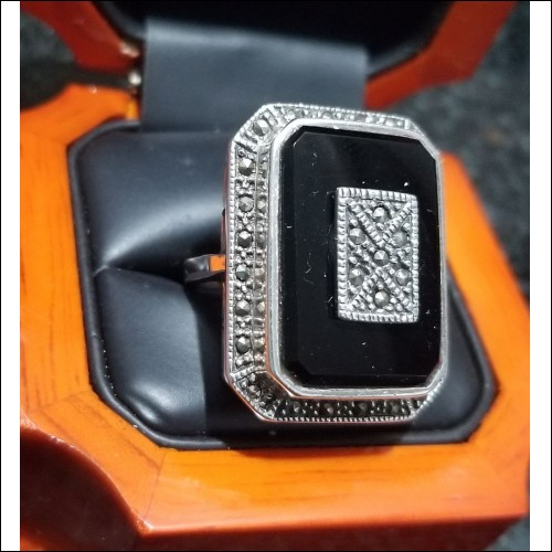 $200 Estate Large Black Onyx & Marcasite Rectangular Ring Sterling $1Nr