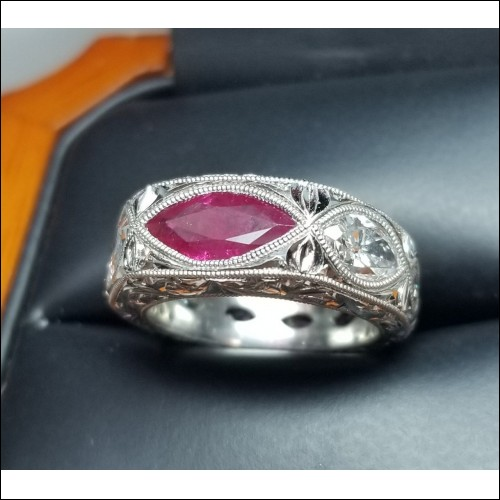 Sold Burma Ruby & Diamond Band Platinum By D.A.J.