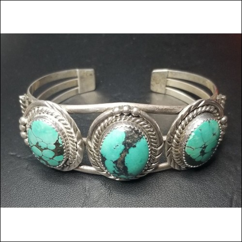 Estate Signed R.Tom Navajo Tribe Artist 3 Turquoise Bracelet Sterling $1Nr