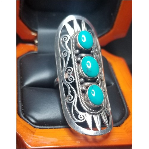 $365 Estate Turquoise Filigree Ring Sterling $1Nr