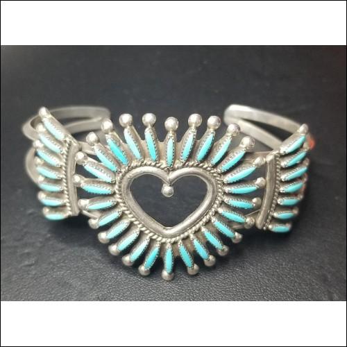 Estate Needlepoint Turquoise Bracelet signed by Zuni Tribe Artist Etsate $1Nr