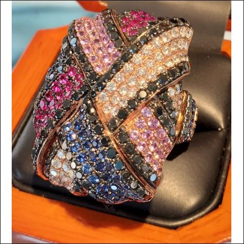 Estate 5.00Ct Whopping Woven Diamond & Gem Ring 18k Rose Gold Labor Day Auction Sept 2