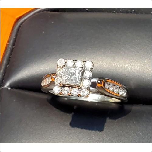 $380-$480 Estate .60Ct Princess Cut & Round Diamond Engagement Ring 14k White Gold $1Nr
