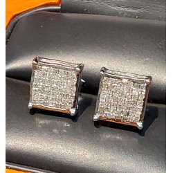 $350-$450 Estate 1.00Ct Princess Cut Diamond Earrings 14k White Gold $1Nr