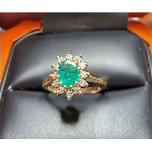 Estate .94Ct Emerald & Diamond Ring 14k Gold $1Nr