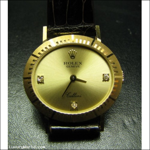 Sold for $1,400 Estate Rolex Cellini with Diamond markers 18k Gold minty