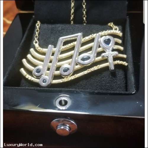 """Original in Blue Diamonds sold for $65,000 """"Yes JESUS LOVES Me"""" Necklace by D.A.J. Sapphire & Diamond Version $484"""