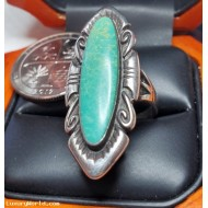 $29 Opening Bid Estate Long Turquoise Ring Sterling Silver