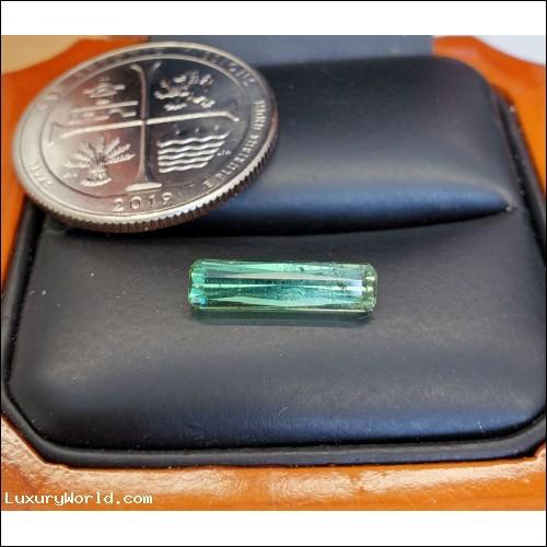 $29 1.70Ct Long Green Tourmaline Emerald Cut October Birthstone